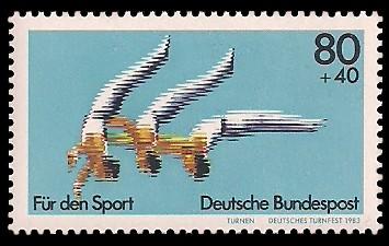 80 + 40 Pf Briefmarke: Für den Sport