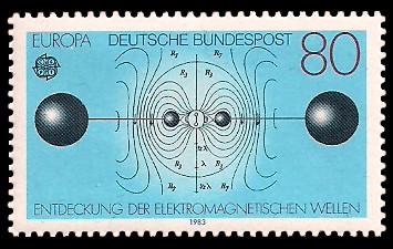80 Pf Briefmarke: Europamarke 1983, Entdeckung der elektromagnetischen Wellen