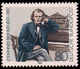 80 Pf Briefmarke: 150. Geburtstag Johannes Brahms