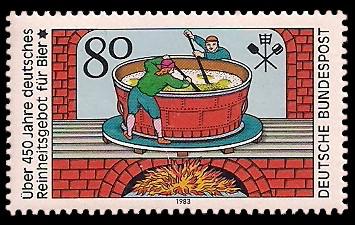 80 Pf Briefmarke: Über 450 Jahre deutsches Reinheitsgebot für Bier