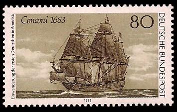 80 Pf Briefmarke: Einwanderung der ersten Deutschen in Amerika