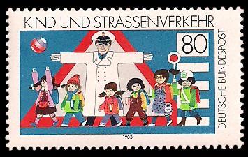 80 Pf Briefmarke: Kind und Straßenverkehr