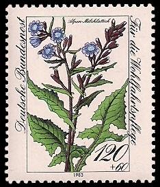 120 + 60 Pf Briefmarke: Für die Wohlfahrtspflege 1983, Alpenblumen