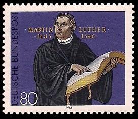 80 Pf Briefmarke: 500. Geburtstag Martin Luther