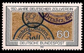 60 Pf Briefmarke: 150 Jahre Deutscher Zollverein