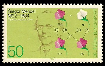 50 Pf Briefmarke: 100. Todestag Gregor Mendel