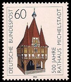60 Pf Briefmarke: 500 Jahre Rathaus Michelstadt