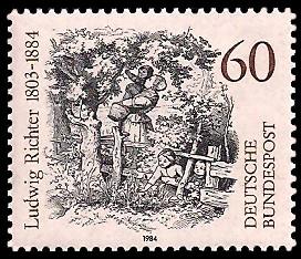 60 Pf Briefmarke: 100. Todestag Ludwig Richter