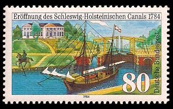 80 Pf Briefmarke: Schleswig-Holsteinischer Canal / Eider-Kanal