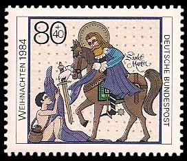 80 + 40 Pf Briefmarke: Weihnachtsmarke 1984