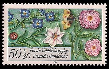 50 + 20 Pf Briefmarke: Für die Wohlfahrtspflege 1985, Miniaturen