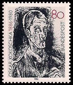 80 Pf Briefmarke: 100. Geburtstag Oskar Kokoschka
