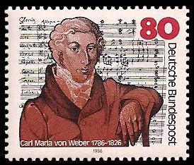 80 Pf Briefmarke: 200. Geburtstag Carl Maria von Weber