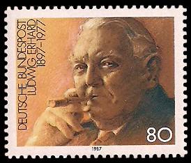80 Pf Briefmarke: 90. Geburtstag Ludwig Erhard