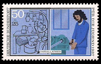 50 + 25 Pf Briefmarke: Für die Jugend 1987, Handwerker
