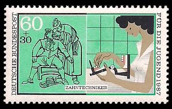 60 + 30 Pf Briefmarke: Für die Jugend 1987, Handwerker