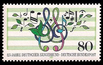 80 Pf Briefmarke: 125 Jahre Deutscher Sängerbund