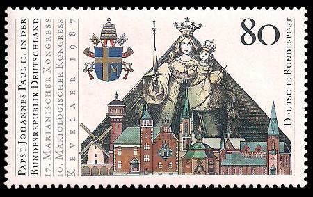 80 Pf Briefmarke: Papst Johannes Paul II. in Deutschland