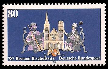 80 Pf Briefmarke: Seit 787 - Bremen Bischofssitz