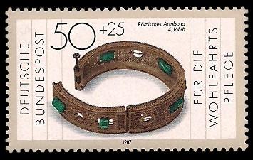 50 + 25 Pf Briefmarke: Wohlfahrtsmarke 1987, Geschmiedetes aus Gold + Silber