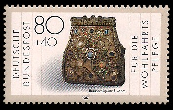 80 + 40 Pf Briefmarke: Wohlfahrtsmarke 1987, Geschmiedetes aus Gold + Silber