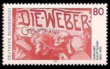 80 Pf Briefmarke: Die Weber - Gerhart Hauptmann