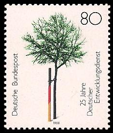 80 Pf Briefmarke: 25 Jahre Deutscher Entwicklungsdienst