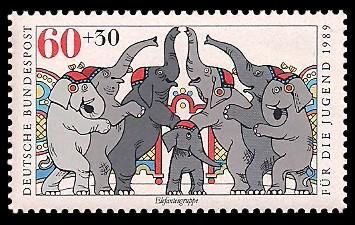 60 + 30 Pf Briefmarke: Für die Jugend 1989, Zirkus
