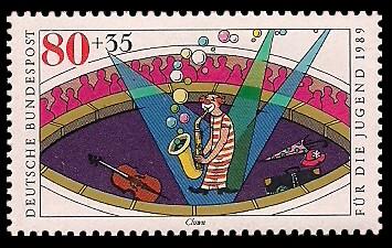 80 + 35 Pf Briefmarke: Für die Jugend 1989, Zirkus