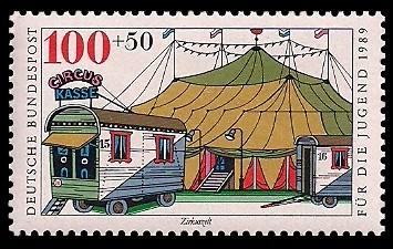 100 + 50 Pf Briefmarke: Für die Jugend 1989, Zirkus