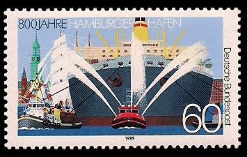 60 Pf Briefmarke: 800 Jahre Hamburger Hafen