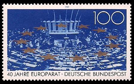 100 Pf Briefmarke: 40 Jahre Europarat