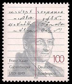100 Pf Briefmarke: 200. Geburtstag von Franz Xaver Gabelsberger