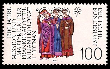 100 Pf Briefmarke: 1300 Jahre Mission und Martyrium der Frankenapostel Kilian, Kolonat und Totnan