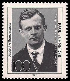 100 Pf Briefmarke: 50. Todestag Paul Schneider