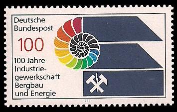 100 Pf Briefmarke: 100 Jahre Industriegewerkschaft Bergbau und Energie