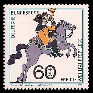 60 + 30 Pf Briefmarke: Wohlfahrtsmarke 1989, Postboten