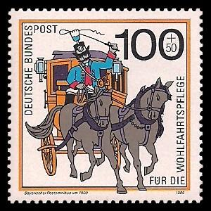 100 + 50 Pf Briefmarke: Wohlfahrtsmarke 1989, Postboten