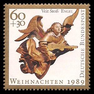 60 + 30 Pf Briefmarke: Weihnachtsmarke 1989, Engel