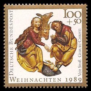 100 + 50 Pf Briefmarke: Weihnachtsmarke 1989, Geburt