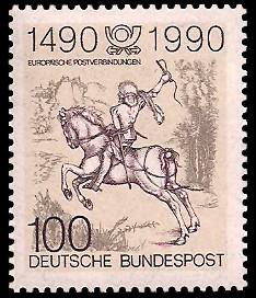 100 Pf Briefmarke: 500 Jahre europäische Postverbindungen