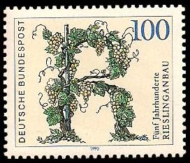 100 Pf Briefmarke: Fünf Jahrhunderte Rieslinganbau