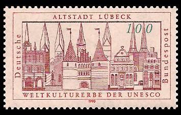 100 Pf Briefmarke: Altstadt Lübeck
