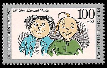 100 + 50 Pf Briefmarke: Für die Jugend 1990, Max und Moritz