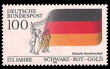 100 Pf Briefmarke: 175 Jahre Schwarz-Rot-Gold