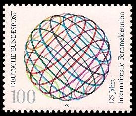100 Pf Briefmarke: 125 Jahre Internationale Fernmeldeunion