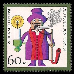 60 + 30 Pf Briefmarke: Weihnachtsmarke 1990, Kunsthandwerk-Weihnachtsfiguren