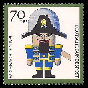 70 + 30 Pf Briefmarke: Weihnachtsmarke 1990, Kunsthandwerk-Weihnachtsfiguren