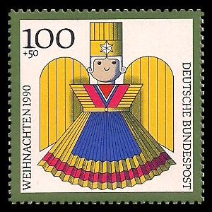 100 + 50 Pf Briefmarke: Weihnachtsmarke 1990, Kunsthandwerk-Weihnachtsfiguren