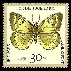 30 + 15 Pf Briefmarke: Für die Jugend 1991, Schmetterlinge